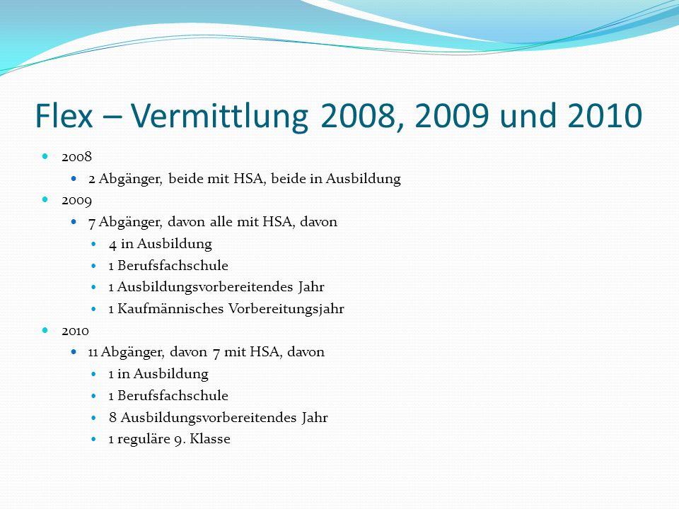 Flex – Vermittlung 2008, 2009 und 2010 2008 2 Abgänger, beide mit HSA, beide in Ausbildung 2009 7 Abgänger, davon alle mit HSA, davon 4 in Ausbildung
