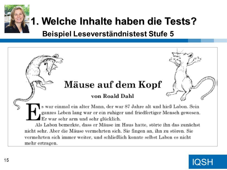 IQSH Beispiel Leseverständnistest Stufe 5 1. Welche Inhalte haben die Tests? 15