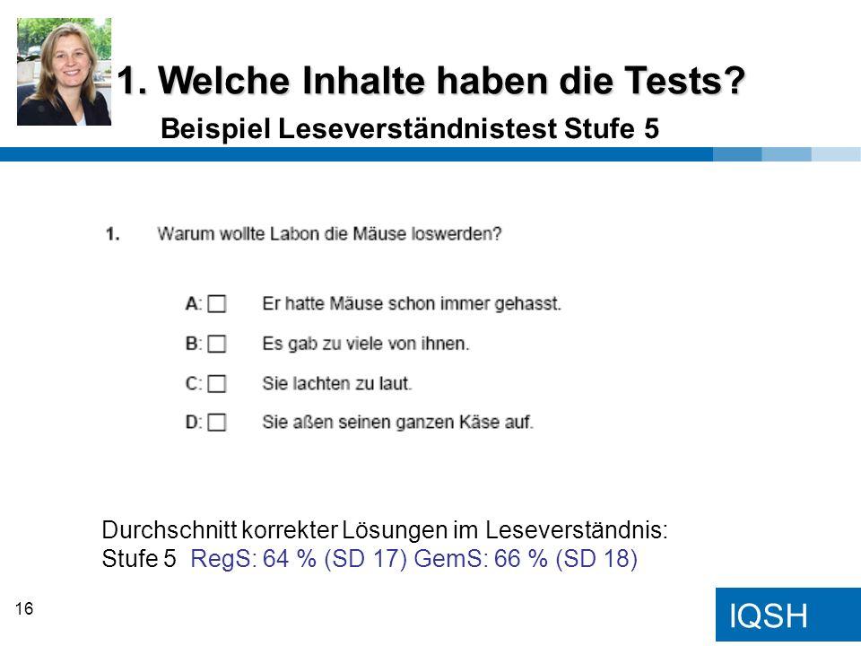 IQSH Beispiel Leseverständnistest Stufe 5 1. Welche Inhalte haben die Tests? Durchschnitt korrekter Lösungen im Leseverständnis: Stufe 5 RegS: 64 % (S