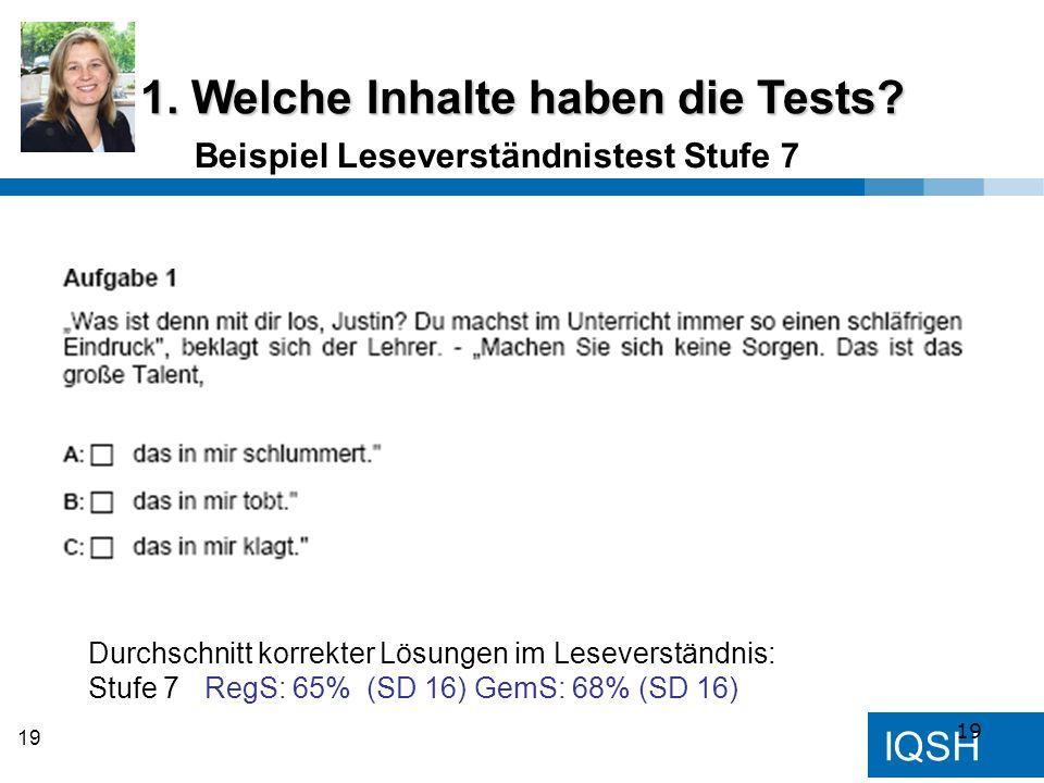 IQSH 19 Beispiel Leseverständnistest Stufe 7 1. Welche Inhalte haben die Tests? Durchschnitt korrekter Lösungen im Leseverständnis: Stufe 7 RegS: 65%