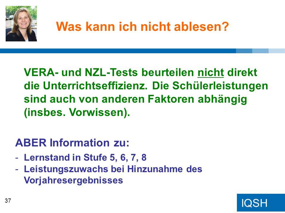 IQSH Was kann ich nicht ablesen? VERA- und NZL-Tests beurteilen nicht direkt die Unterrichtseffizienz. Die Schülerleistungen sind auch von anderen Fak
