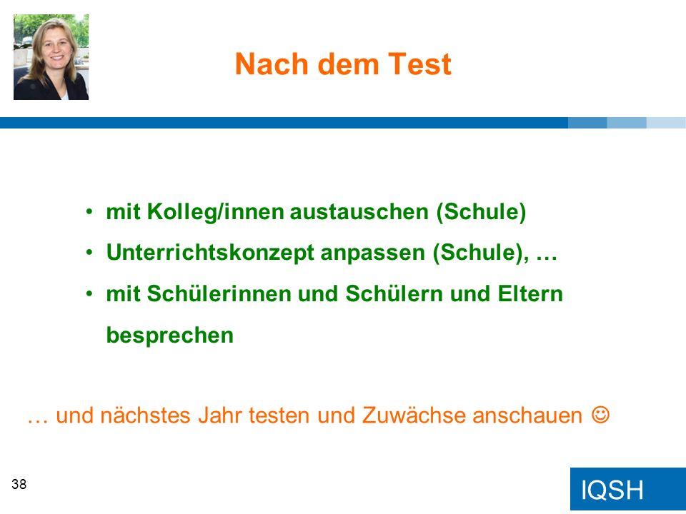 IQSH Nach dem Test mit Kolleg/innen austauschen (Schule) Unterrichtskonzept anpassen (Schule), … mit Schülerinnen und Schülern und Eltern besprechen …