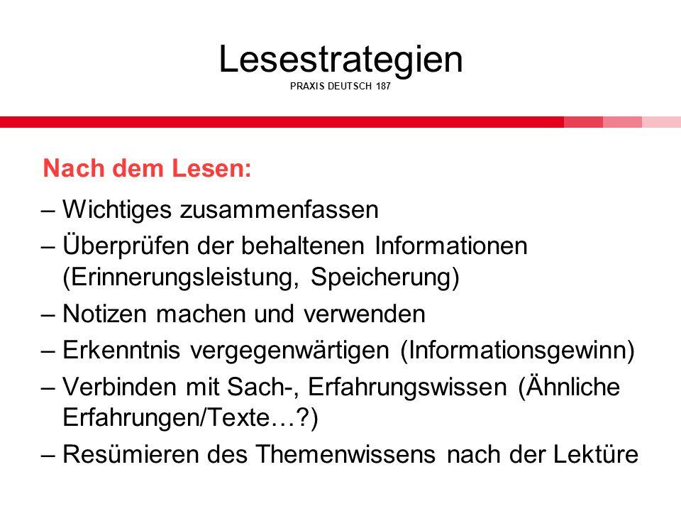 Lesestrategien PRAXIS DEUTSCH 187 Nach dem Lesen: –Wichtiges zusammenfassen –Überprüfen der behaltenen Informationen (Erinnerungsleistung, Speicherung