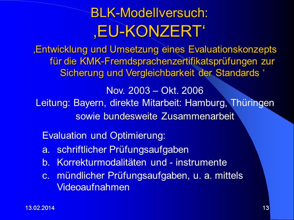 BLK-Modellversuch: EU-KONZERT 13.02.201413 Entwicklung und Umsetzung eines Evaluationskonzepts für die KMK-Fremdsprachenzertifikatsprüfungen zur Siche