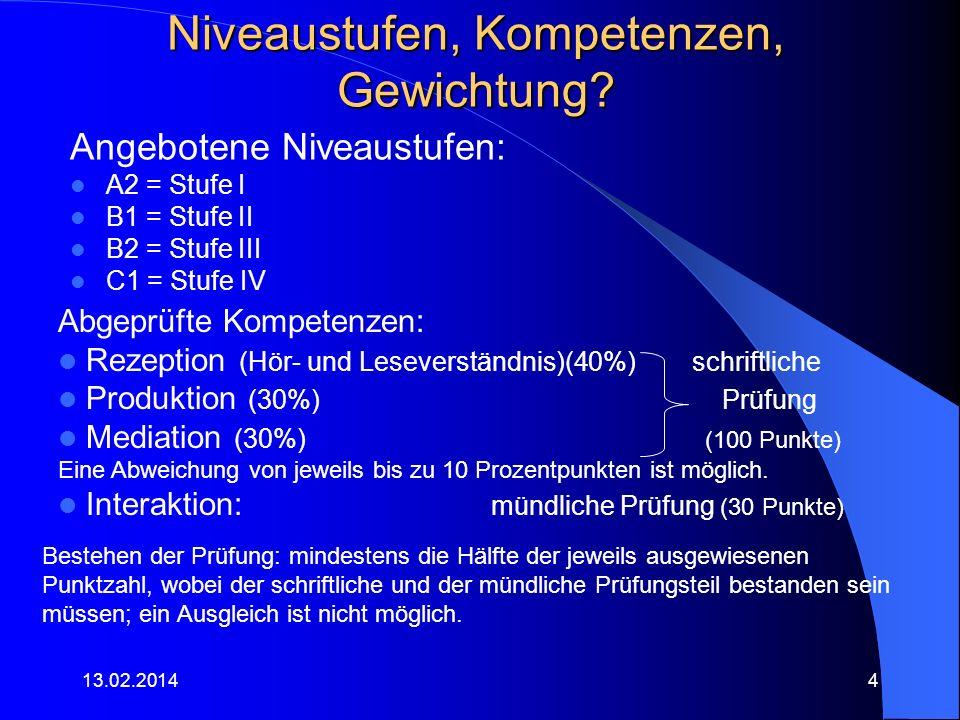 Dauer der Prüfungen.13.02.20145 StufeschriftlichMündlich i.
