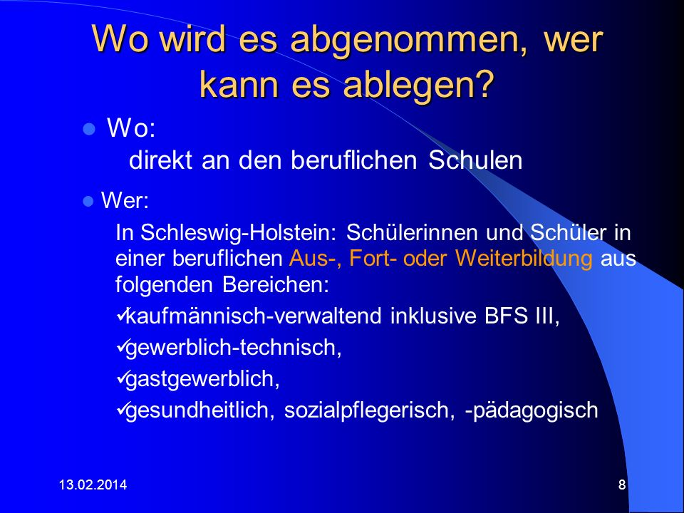 Kosten Beispiele, da bundesweit noch uneinheitlich: Schleswig-Holstein - keine Gebühren, es werden folgende Kostenbeiträge empfohlen: – 30 im dualen Bereich, einschließlich der Stufe II bei der BFS III – SPA – ein ermäßigter Kostenbeitrag von 10 in der BFS III – KA sowie bei der zentralen Abschlussprüfung Stufe III bei der BFS III – SPA/FS ErzieherInnen NRW: Stufe I – 60, Stufe II – 75, Stufe III – 90 Hamburg: 2009: 40 weiterhin prüfen viele Bundesländer eine Gebührenerhebung.