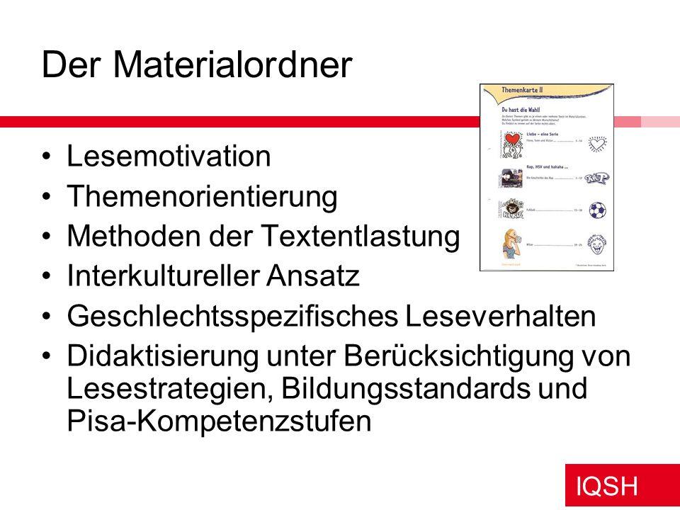 IQSH Der Materialordner Lesemotivation Themenorientierung Methoden der Textentlastung Interkultureller Ansatz Geschlechtsspezifisches Leseverhalten Di