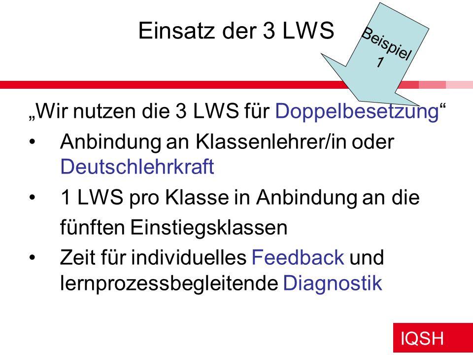 IQSH Einsatz der 3 LWS Wir nutzen die 3 LWS für Doppelbesetzung Anbindung an Klassenlehrer/in oder Deutschlehrkraft 1 LWS pro Klasse in Anbindung an d