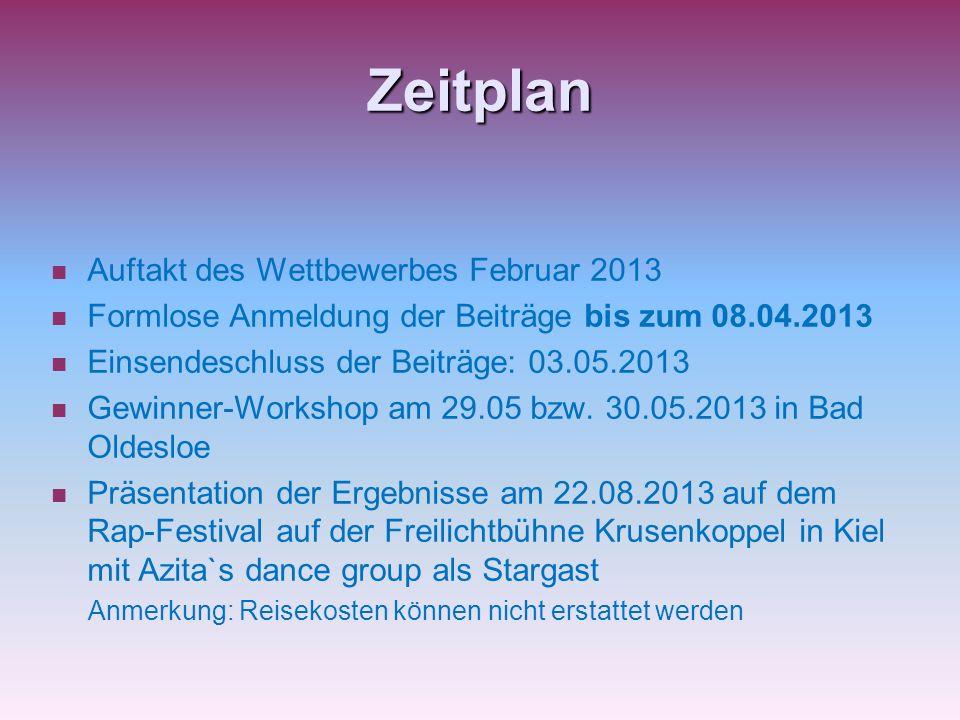 Zeitplan Auftakt des Wettbewerbes Februar 2013 Formlose Anmeldung der Beiträge bis zum 08.04.2013 Einsendeschluss der Beiträge: 03.05.2013 Gewinner-Workshop am 29.05 bzw.