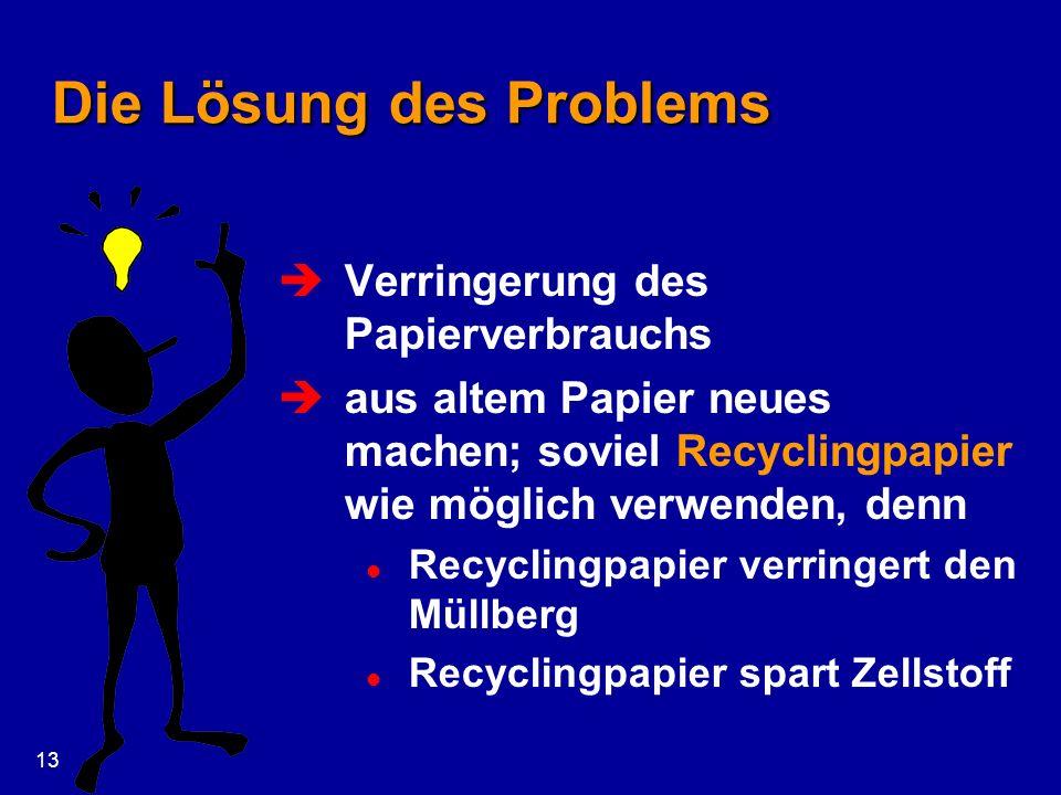 13 Die Lösung des Problems Verringerung des Papierverbrauchs aus altem Papier neues machen; soviel Recyclingpapier wie möglich verwenden, denn l Recyc