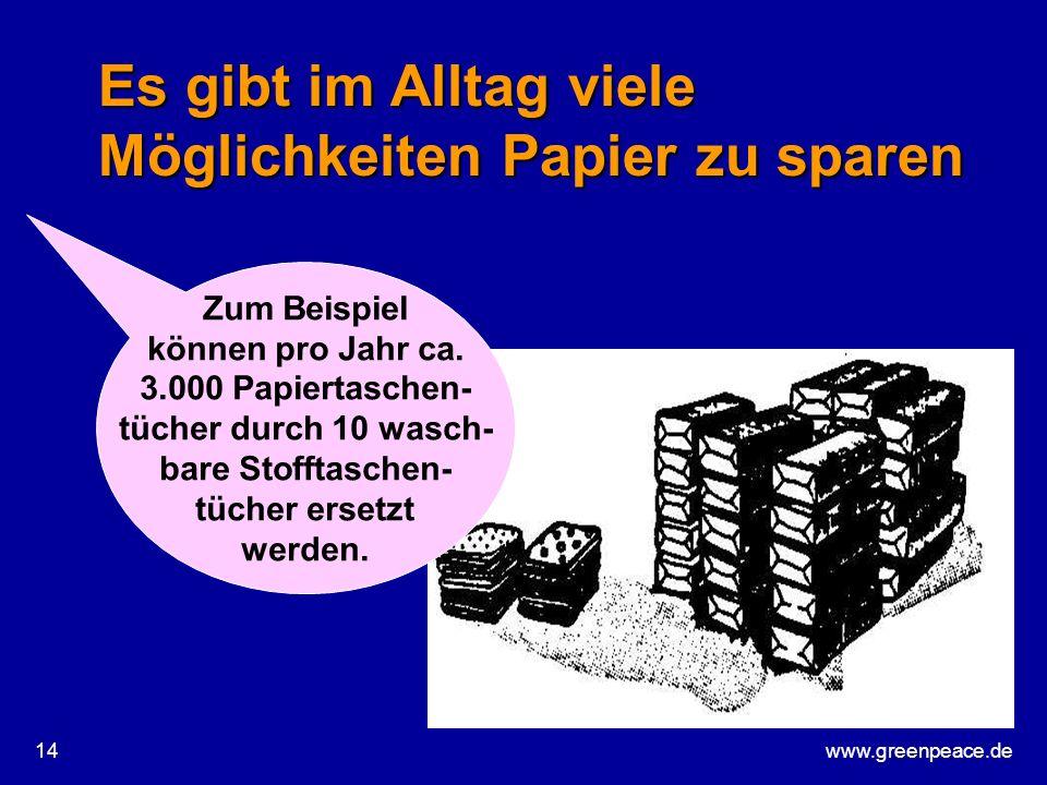 www.greenpeace.de14 Es gibt im Alltag viele Möglichkeiten Papier zu sparen Zum Beispiel können pro Jahr ca. 3.000 Papiertaschen- tücher durch 10 wasch