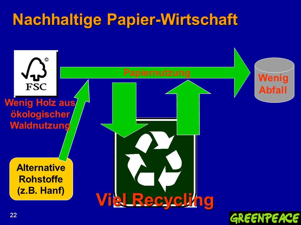 22 Nachhaltige Papier-Wirtschaft Wenig Abfall Viel Recycling Papiernutzung Alternative Rohstoffe (z.B. Hanf) Wenig Holz aus ökologischer Waldnutzung