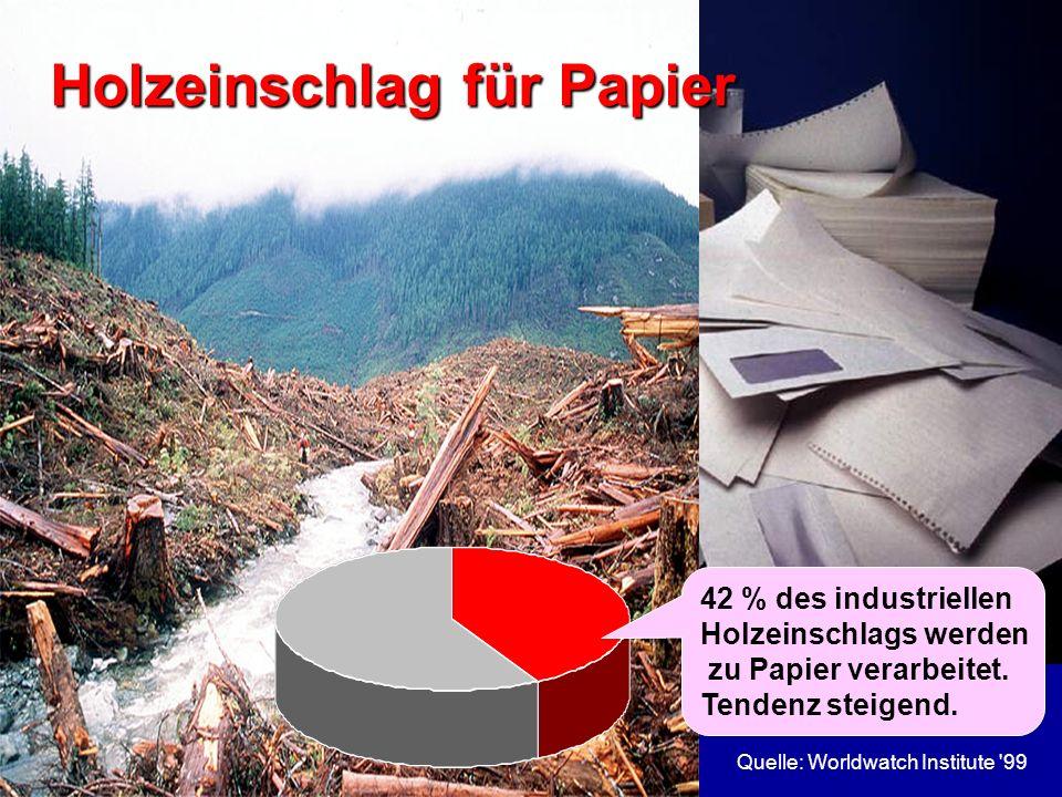 Quelle: Worldwatch Institute '993 Holzeinschlag für Papier 42 % des industriellen Holzeinschlags werden zu Papier verarbeitet. Tendenz steigend.