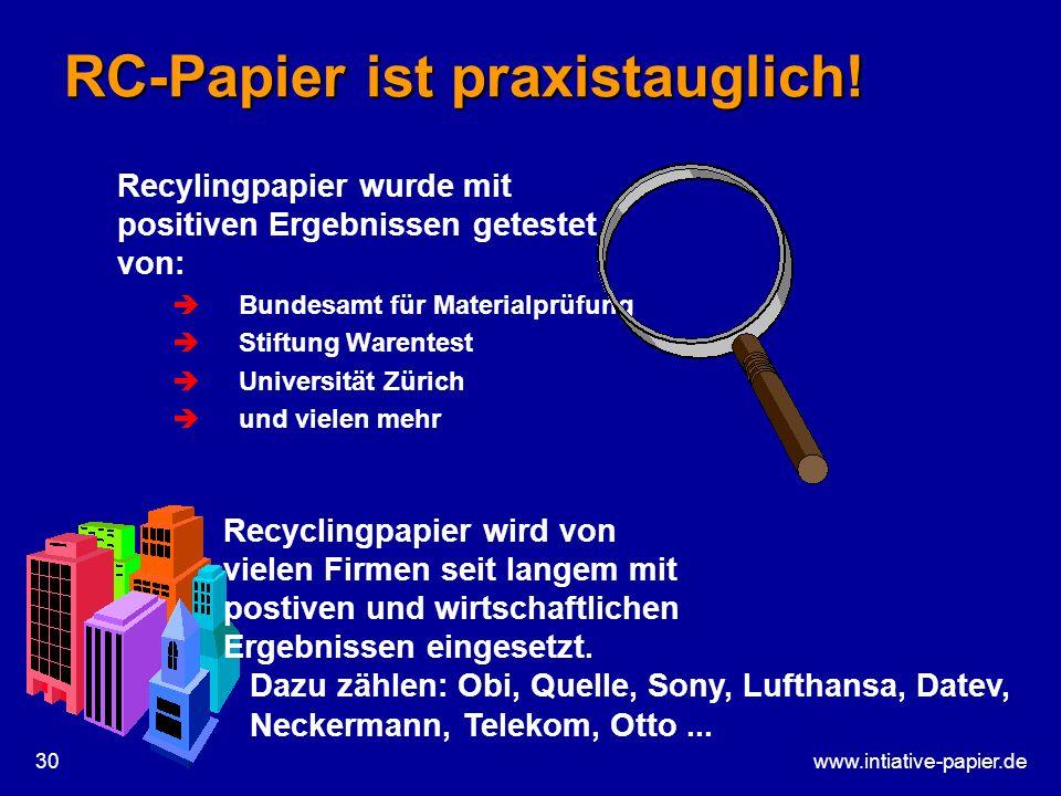www.intiative-papier.de30 RC-Papier ist praxistauglich! Recylingpapier wurde mit positiven Ergebnissen getestet von: Bundesamt für Materialprüfung Sti