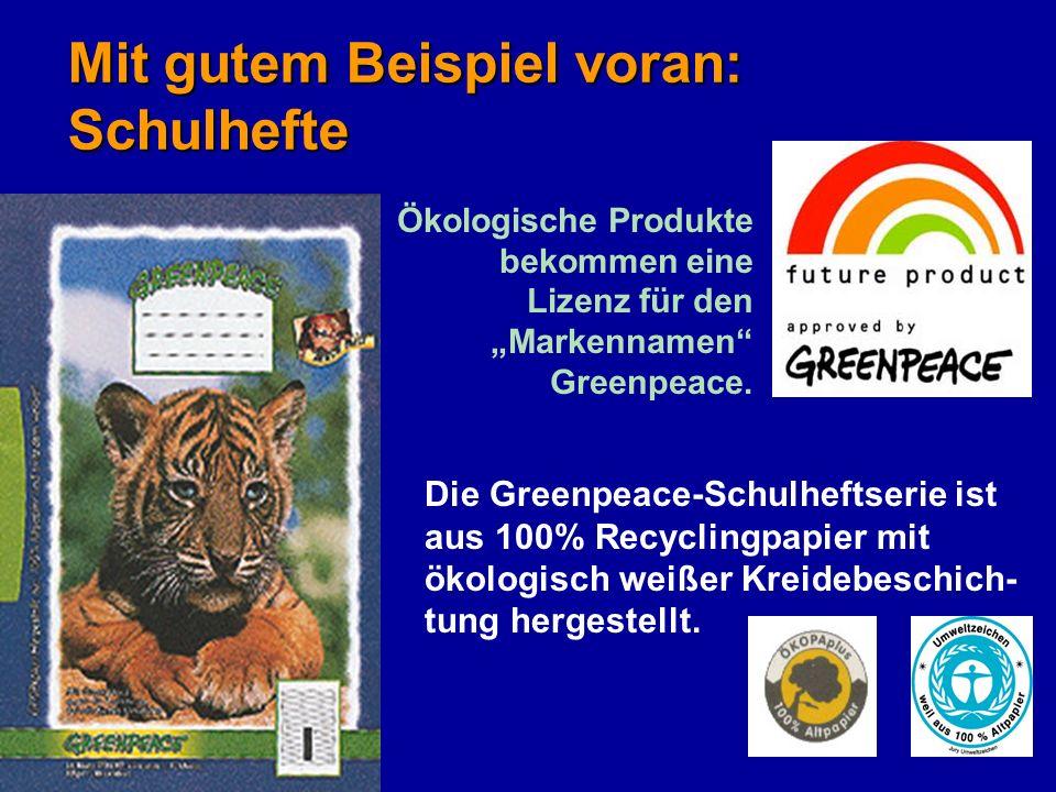 32 Mit gutem Beispiel voran: Schulhefte Ökologische Produkte bekommen eine Lizenz für den Markennamen Greenpeace. Die Greenpeace-Schulheftserie ist au
