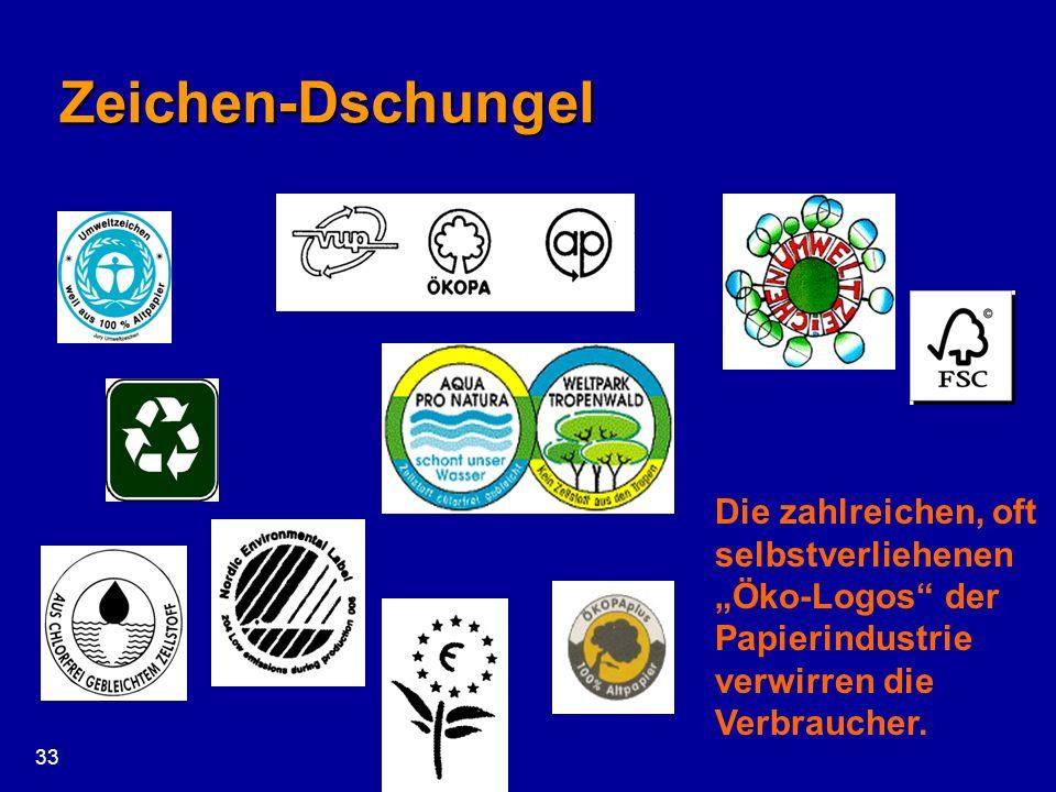 33 Zeichen-Dschungel Die zahlreichen, oft selbstverliehenen Öko-Logos der Papierindustrie verwirren die Verbraucher.