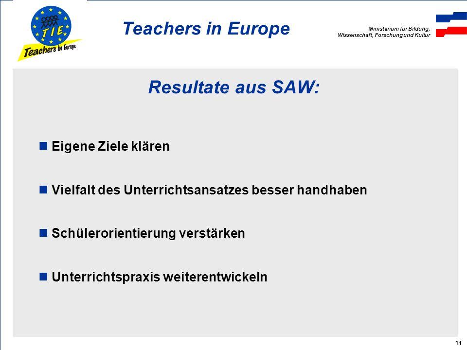 Ministerium für Bildung, Wissenschaft, Forschung und Kultur Teachers in Europe 11 Resultate aus SAW: Eigene Ziele klären Vielfalt des Unterrichtsansatzes besser handhaben Schülerorientierung verstärken Unterrichtspraxis weiterentwickeln