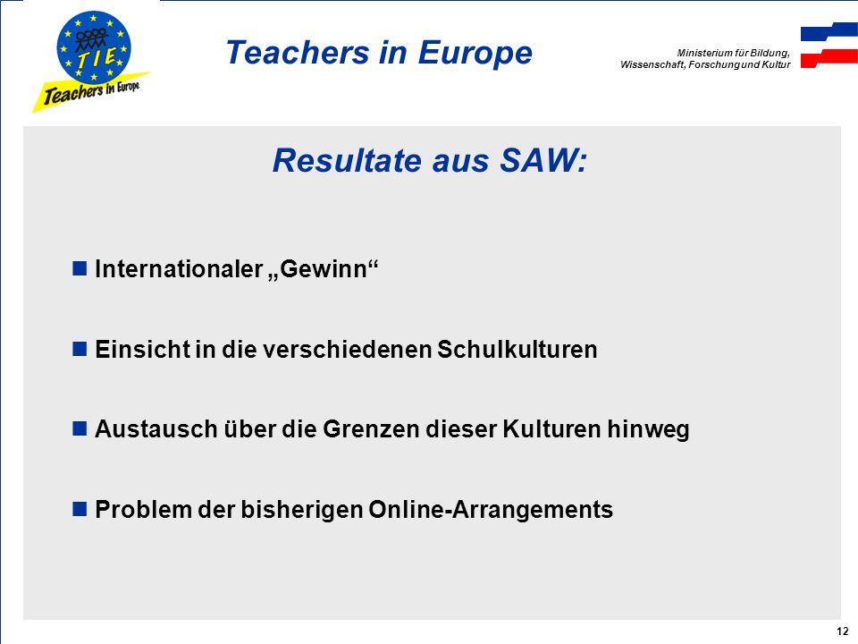 Ministerium für Bildung, Wissenschaft, Forschung und Kultur Teachers in Europe 12 Resultate aus SAW: Internationaler Gewinn Einsicht in die verschiedenen Schulkulturen Austausch über die Grenzen dieser Kulturen hinweg Problem der bisherigen Online-Arrangements