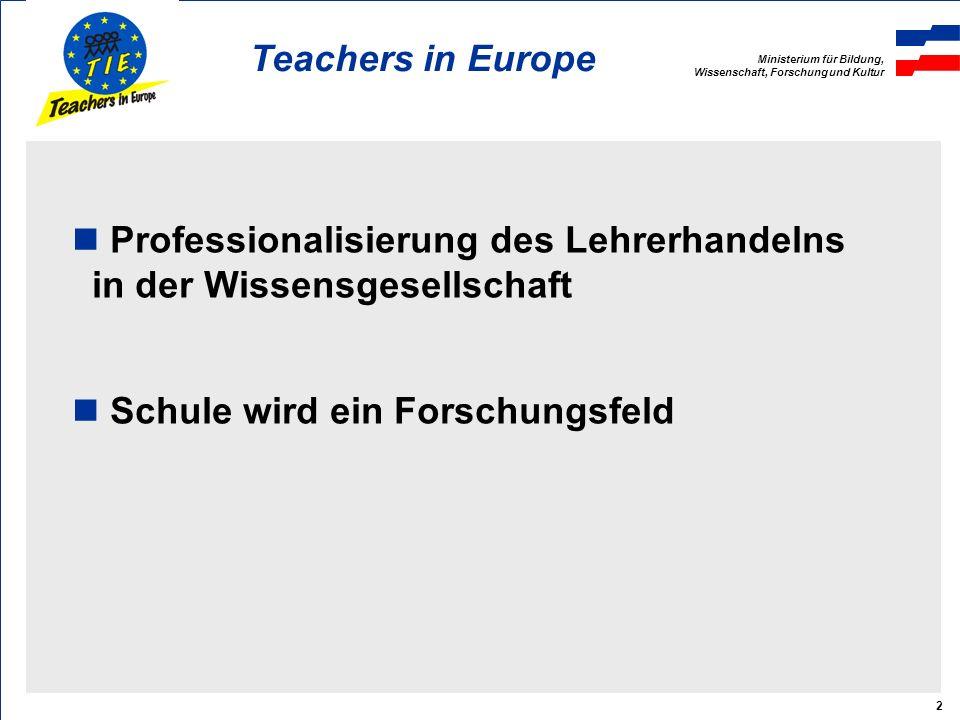 Ministerium für Bildung, Wissenschaft, Forschung und Kultur Teachers in Europe 2 Professionalisierung des Lehrerhandelns in der Wissensgesellschaft Schule wird ein Forschungsfeld