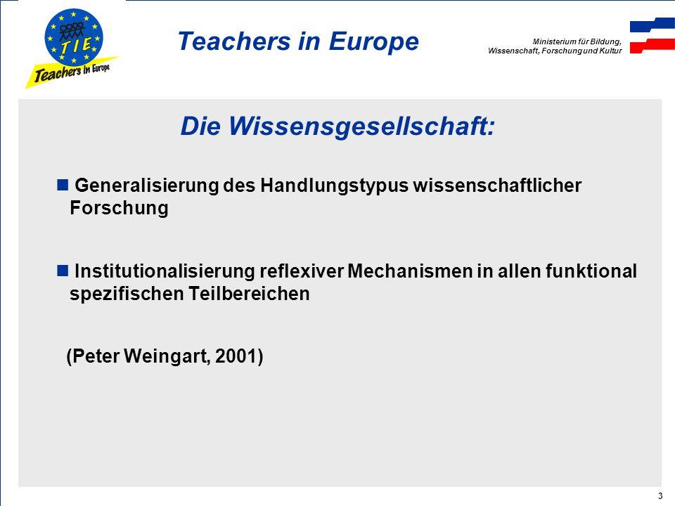 Ministerium für Bildung, Wissenschaft, Forschung und Kultur Teachers in Europe 4 Reflexive Mechanismen im Teilbereich Schule: