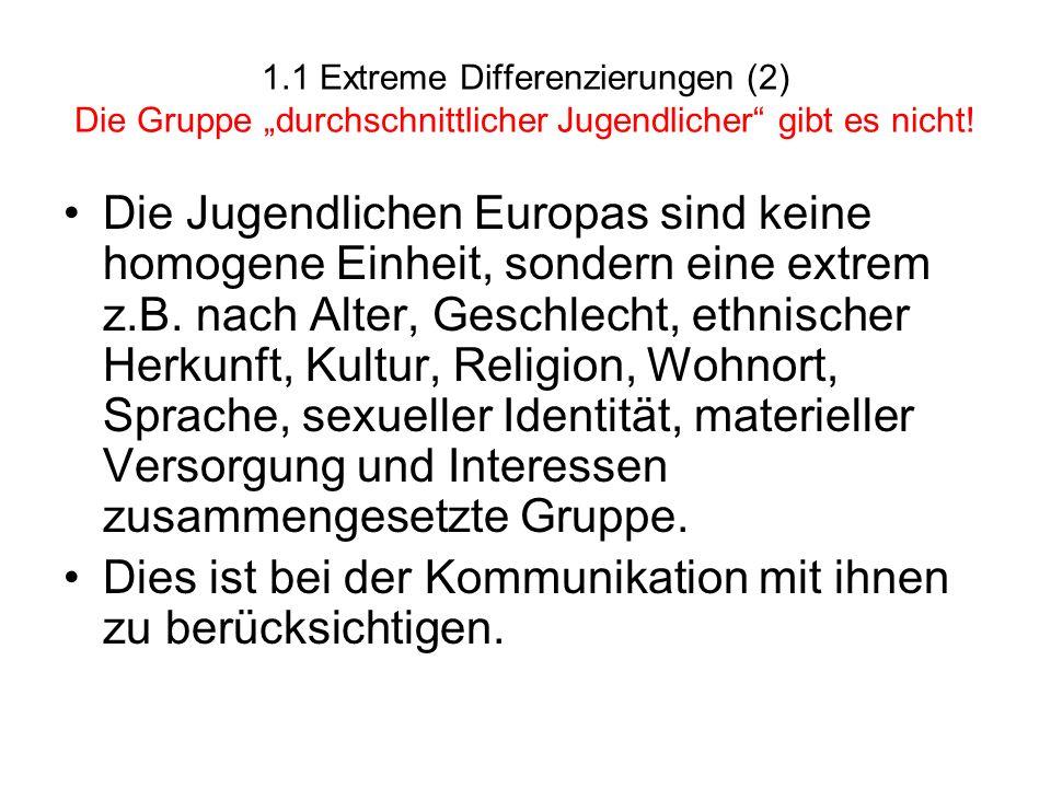 1.1 Extreme Differenzierungen (2) Die Gruppe durchschnittlicher Jugendlicher gibt es nicht! Die Jugendlichen Europas sind keine homogene Einheit, sond
