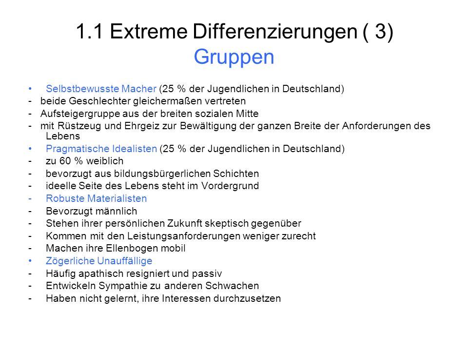 1.1 Extreme Differenzierungen ( 3) Gruppen Selbstbewusste Macher (25 % der Jugendlichen in Deutschland) - beide Geschlechter gleichermaßen vertreten -