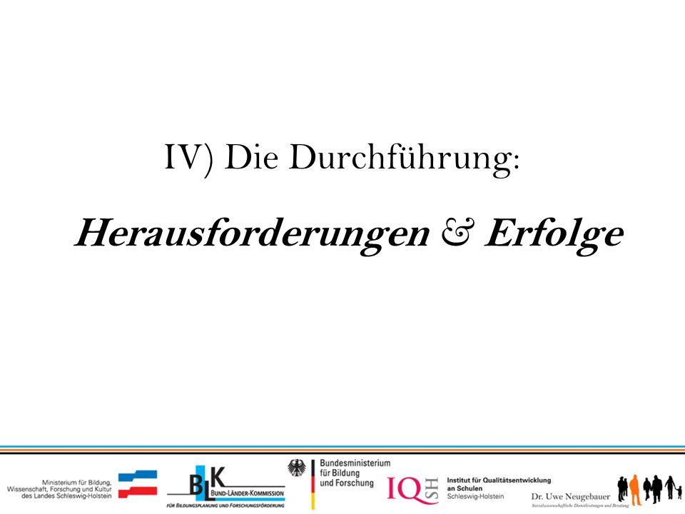 IV) Die Durchführung: Herausforderungen & Erfolge 1.