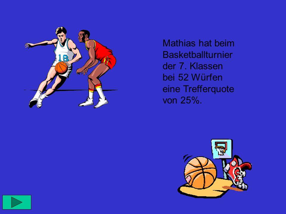 Mathias hat beim Basketballturnier der 7. Klassen bei 52 Würfen eine Trefferquote von 25%.