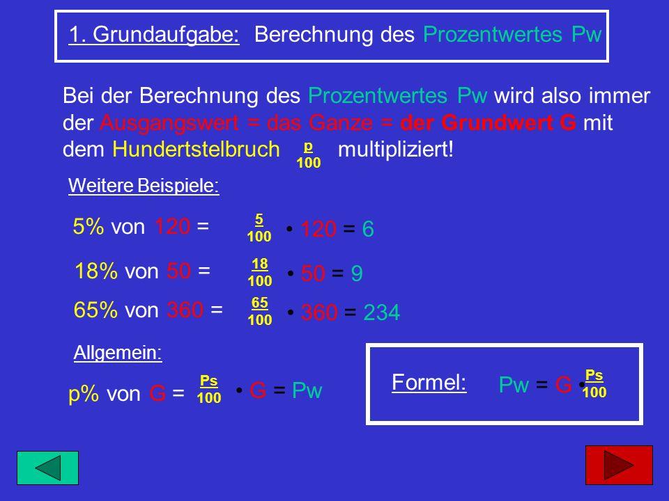 1. Grundaufgabe: Berechnung des Prozentwertes Pw Bei der Berechnung des Prozentwertes Pw wird also immer der Ausgangswert = das Ganze = der Grundwert