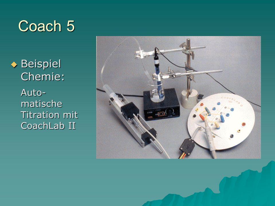 Coach 5 Beispiel Chemie: Beispiel Chemie: Auto- matische Titration mit CoachLab II