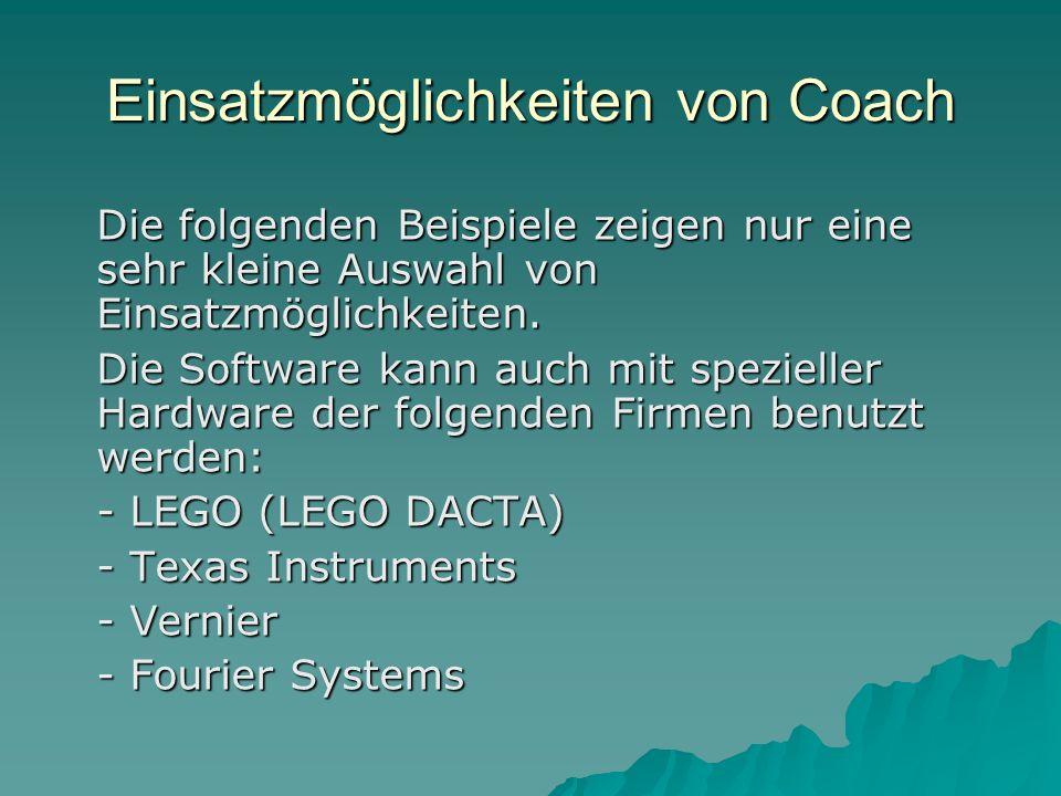 Einsatzmöglichkeiten von Coach Die folgenden Beispiele zeigen nur eine sehr kleine Auswahl von Einsatzmöglichkeiten.