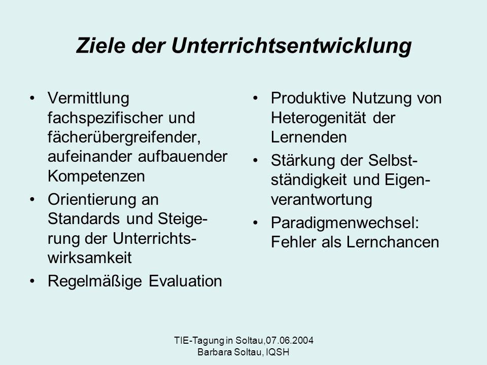 TIE-Tagung in Soltau,07.06.2004 Barbara Soltau, IQSH Ziele der Unterrichtsentwicklung Vermittlung fachspezifischer und fächerübergreifender, aufeinander aufbauender Kompetenzen Orientierung an Standards und Steige- rung der Unterrichts- wirksamkeit Regelmäßige Evaluation Produktive Nutzung von Heterogenität der Lernenden Stärkung der Selbst- ständigkeit und Eigen- verantwortung Paradigmenwechsel: Fehler als Lernchancen