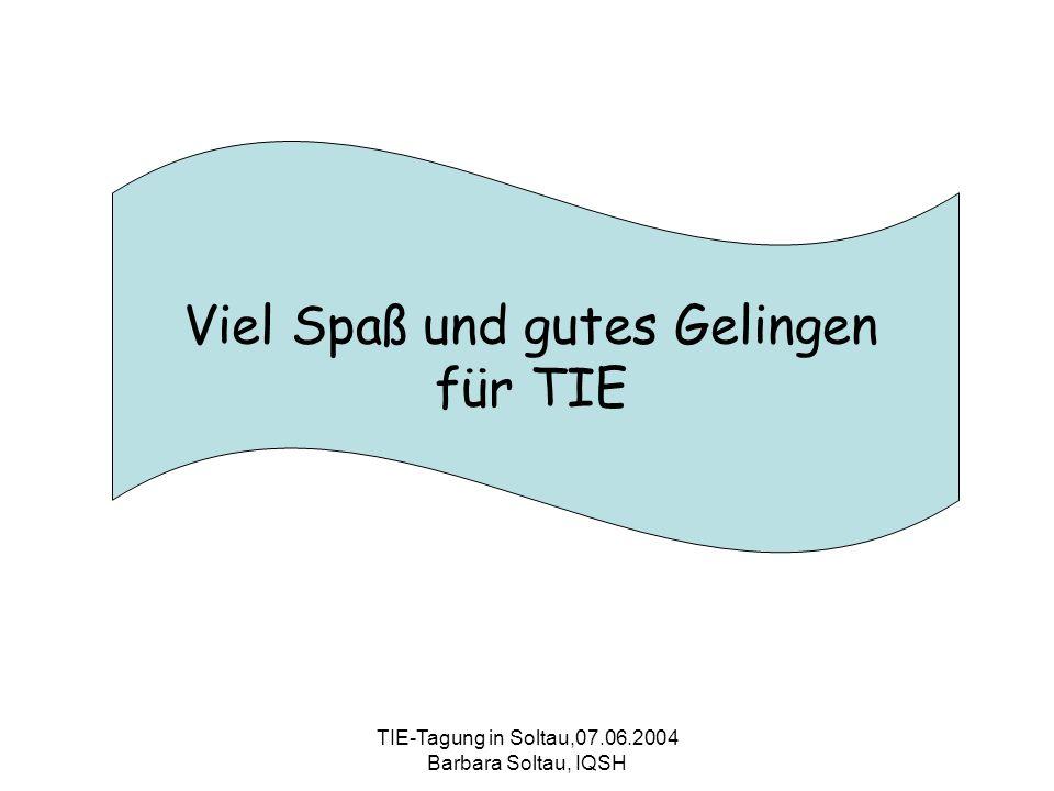 TIE-Tagung in Soltau,07.06.2004 Barbara Soltau, IQSH Viel Spaß und gutes Gelingen für TIE