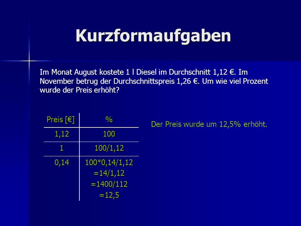 Kurzformaufgaben Im Monat August kostete 1 l Diesel im Durchschnitt 1,12. Im November betrug der Durchschnittspreis 1,26. Um wie viel Prozent wurde de