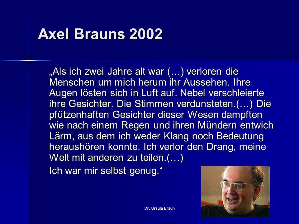 Dr. Ursula Braun Axel Brauns 2002 Als ich zwei Jahre alt war (…) verloren die Menschen um mich herum ihr Aussehen. Ihre Augen lösten sich in Luft auf.