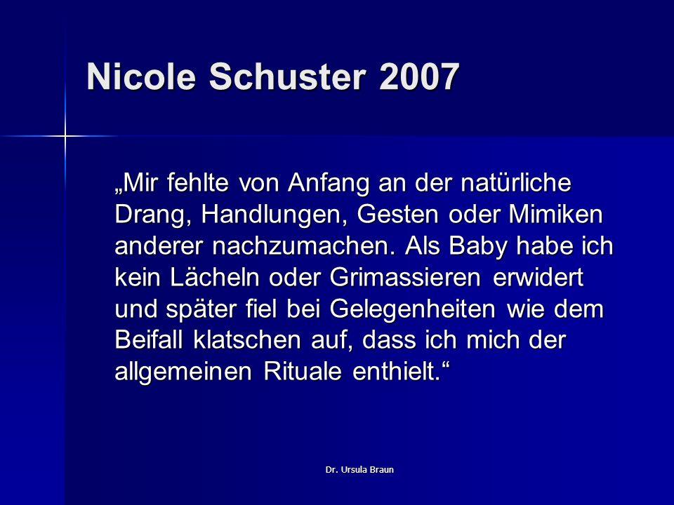 Dr. Ursula Braun Nicole Schuster 2007 Mir fehlte von Anfang an der natürliche Drang, Handlungen, Gesten oder Mimiken anderer nachzumachen. Als Baby ha