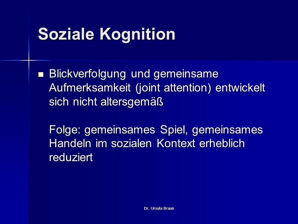 Dr. Ursula Braun Soziale Kognition Blickverfolgung und gemeinsame Aufmerksamkeit (joint attention) entwickelt sich nicht altersgemäß Folge: gemeinsame