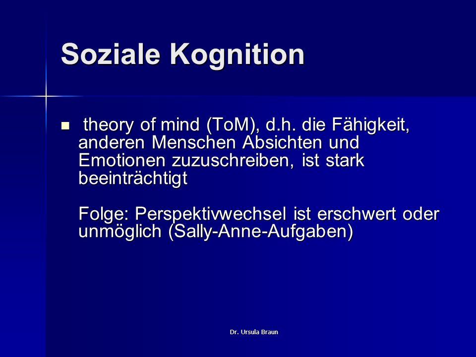 Dr. Ursula Braun Soziale Kognition theory of mind (ToM), d.h. die Fähigkeit, anderen Menschen Absichten und Emotionen zuzuschreiben, ist stark beeintr