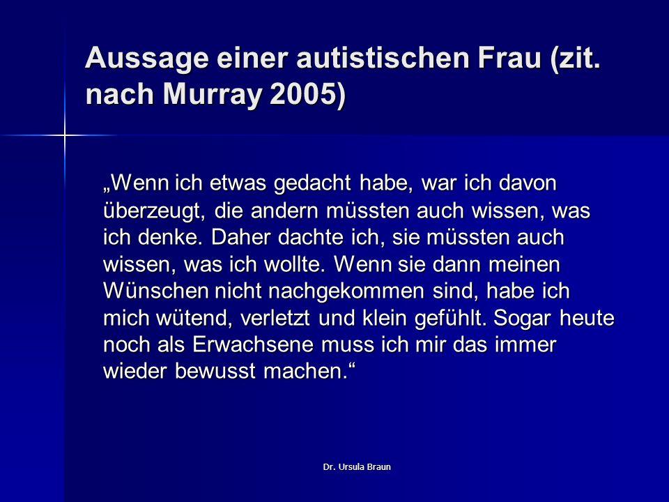 Dr. Ursula Braun Aussage einer autistischen Frau (zit. nach Murray 2005) Wenn ich etwas gedacht habe, war ich davon überzeugt, die andern müssten auch