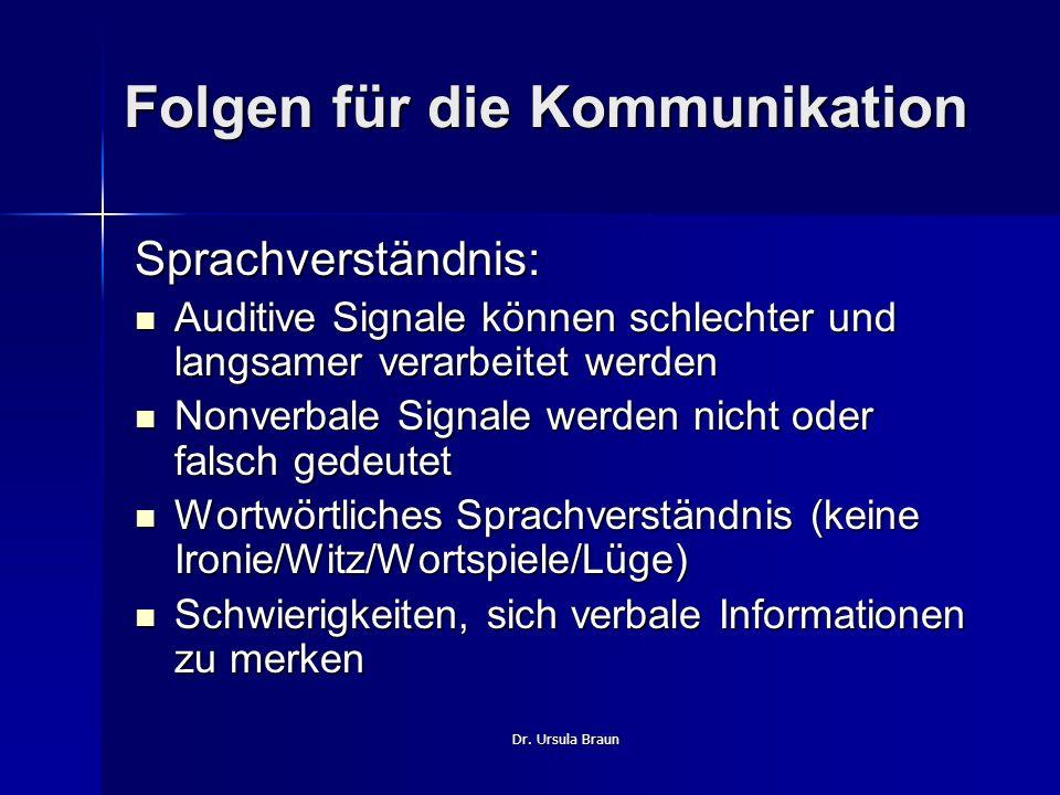 Dr. Ursula Braun Folgen für die Kommunikation Sprachverständnis: Auditive Signale können schlechter und langsamer verarbeitet werden Auditive Signale