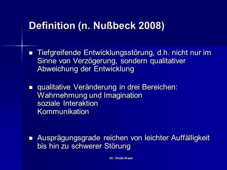 Dr. Ursula Braun Definition (n. Nußbeck 2008) Tiefgreifende Entwicklungsstörung, d.h. nicht nur im Sinne von Verzögerung, sondern qualitativer Abweich