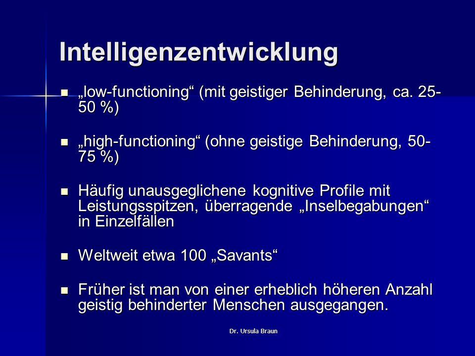 Dr. Ursula Braun Intelligenzentwicklung low-functioning (mit geistiger Behinderung, ca. 25- 50 %) low-functioning (mit geistiger Behinderung, ca. 25-