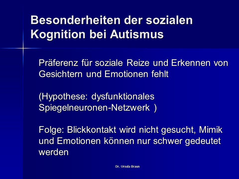 Dr. Ursula Braun Besonderheiten der sozialen Kognition bei Autismus Präferenz für soziale Reize und Erkennen von Gesichtern und Emotionen fehlt (Hypot