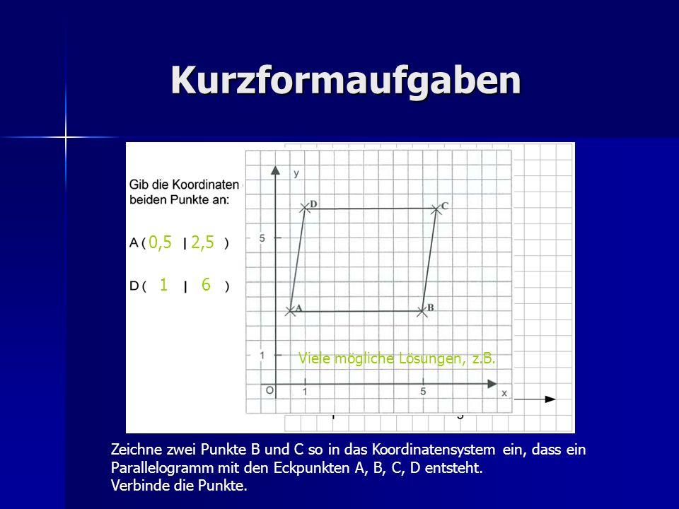 Kurzformaufgaben 0,5 1 2,5 6 Zeichne zwei Punkte B und C so in das Koordinatensystem ein, dass ein Parallelogramm mit den Eckpunkten A, B, C, D entste