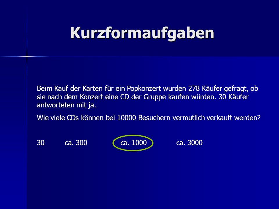 Kurzformaufgaben Beim Kauf der Karten für ein Popkonzert wurden 278 Käufer gefragt, ob sie nach dem Konzert eine CD der Gruppe kaufen würden. 30 Käufe