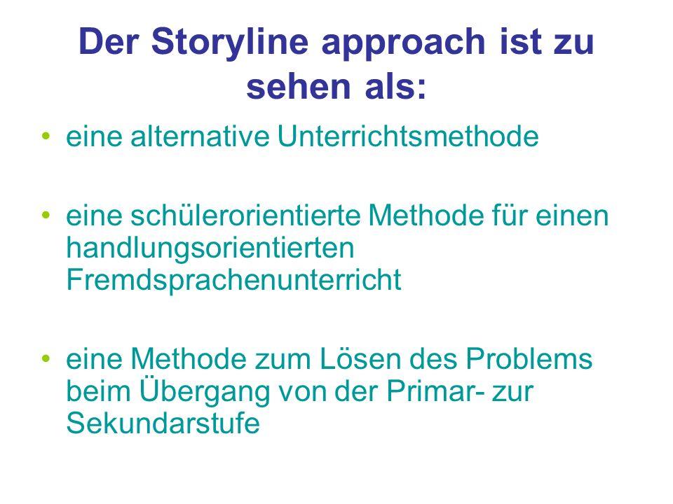 Der Storyline approach ist zu sehen als: eine alternative Unterrichtsmethode eine schülerorientierte Methode für einen handlungsorientierten Fremdspra