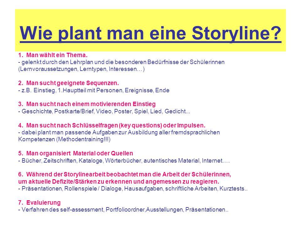 Wie plant man eine Storyline? 1. Man wählt ein Thema. - gelenkt durch den Lehrplan und die besonderen Bedürfnisse der Schülerinnen (Lernvoraussetzunge