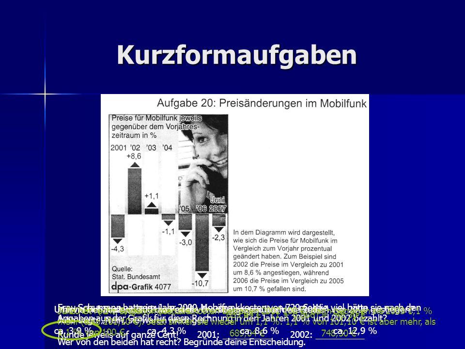 Kurzformaufgaben Frau Schumann hatte im Jahr 2000 Mobilfunkkosten von 720. Wie viel hätte sie nach den Angaben aus der Grafik für diese Rechnung in de
