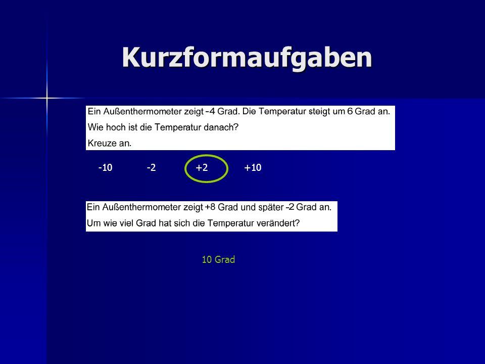 Kurzformaufgaben -10-2+2+10 10 Grad