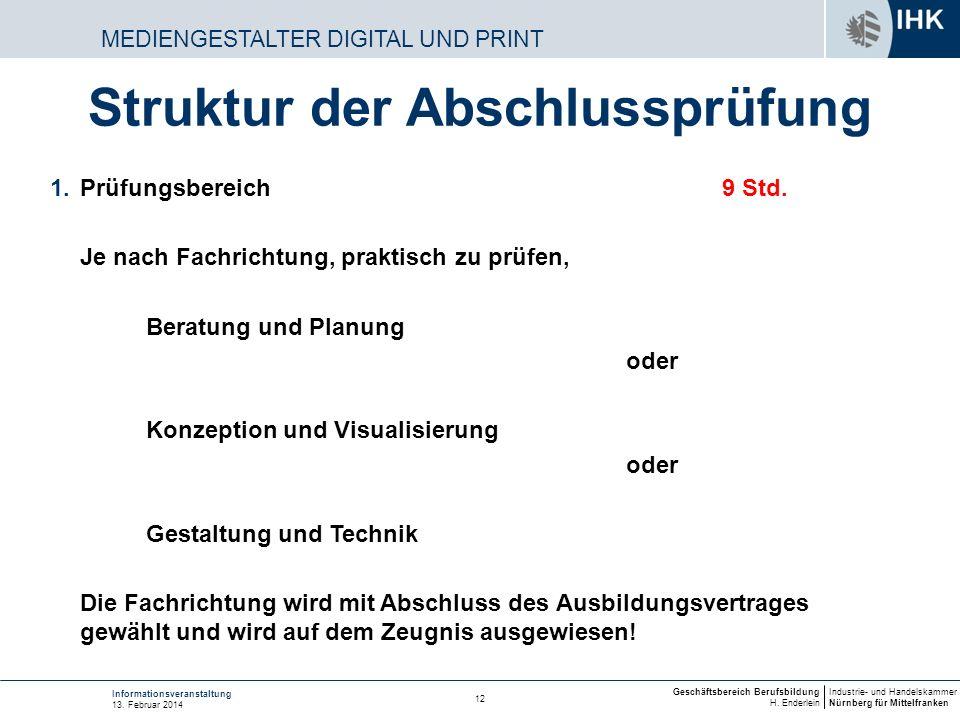Industrie- und Handelskammer Nürnberg für Mittelfranken Geschäftsbereich Berufsbildung H. Enderlein 12 Informationsveranstaltung 13. Februar 2014 MEDI